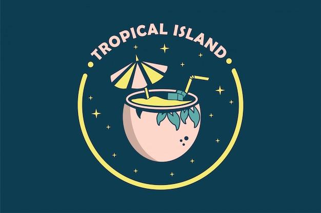 Tropical avec illustration vectorielle de noix de coco Vecteur Premium