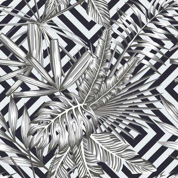 Tropical modèle sans couture en style géométrique noir et blanc Vecteur Premium