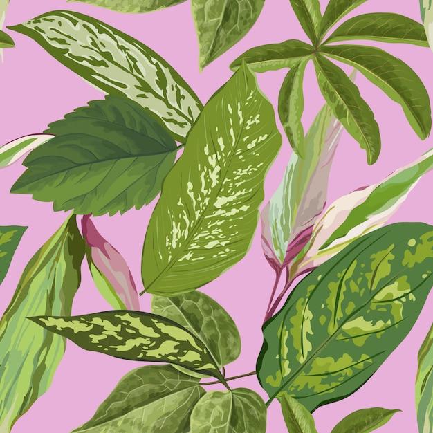 Tropical seamless pattern avec des feuilles de palmier pour papier peint Vecteur Premium
