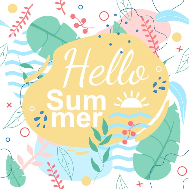Tropical seamless pattern avec le titre hello summer Vecteur Premium