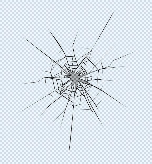 Trou dans le verre brisé Vecteur Premium