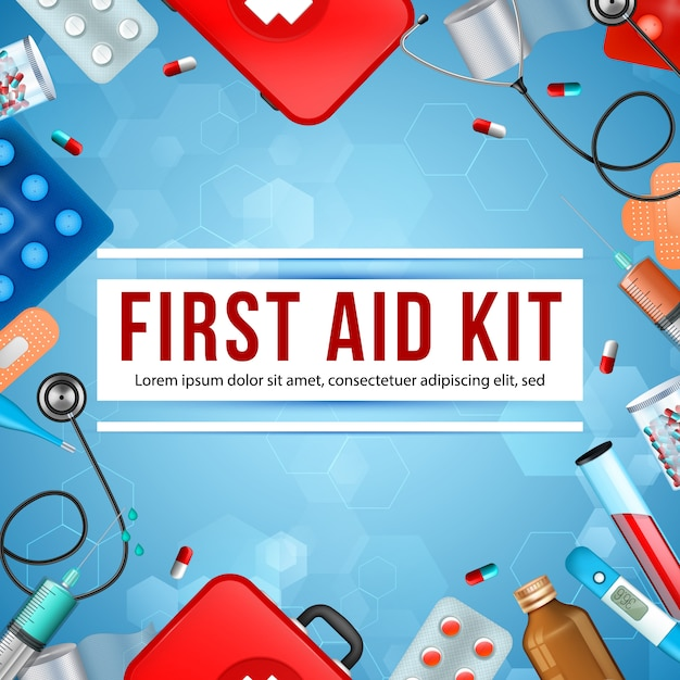 Trousse de secours, bannière carrée, équipement médical Vecteur Premium