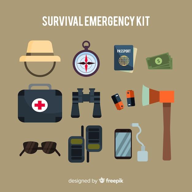 Trousse d'urgence de survie Vecteur gratuit