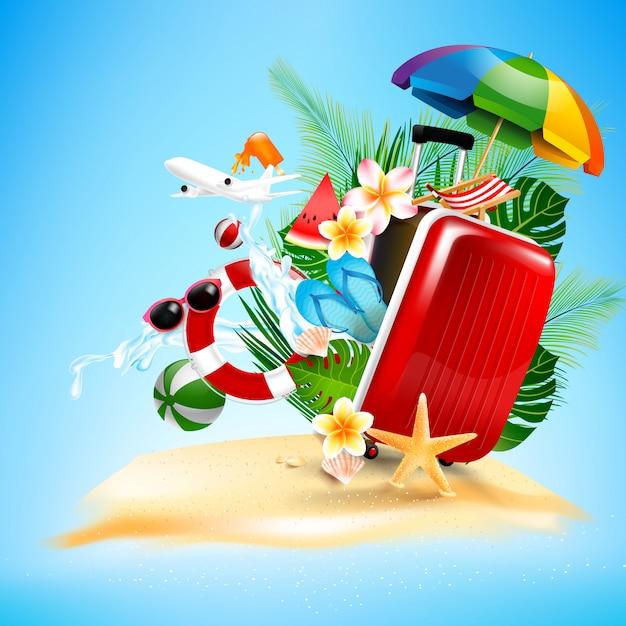 Trousse de voyage bagages avion ouvert avec paume de fleur étoile de mer Vecteur Premium