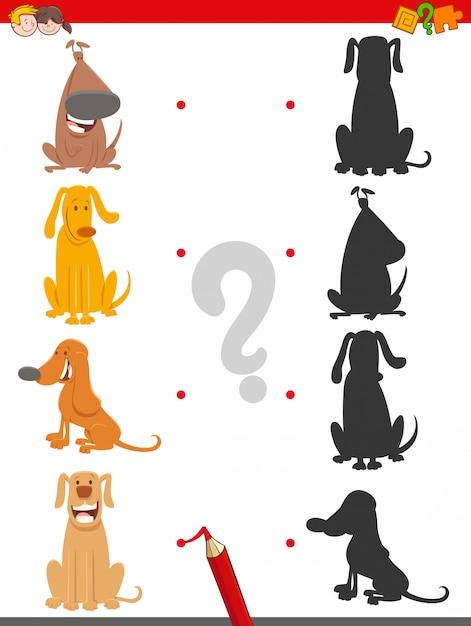 Trouver la bonne tâche éducative shadow avec les chiens Vecteur Premium