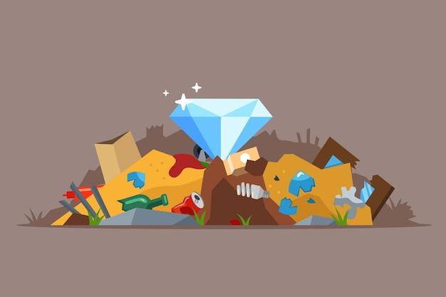 Trouver Un Diamant Dans La Poubelle. Jeter Accidentellement Un Bijou à La Poubelle. Vecteur Premium