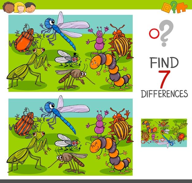 Trouver Des Différences Avec Les Insectes Groupe De Caractères Animaux Vecteur Premium
