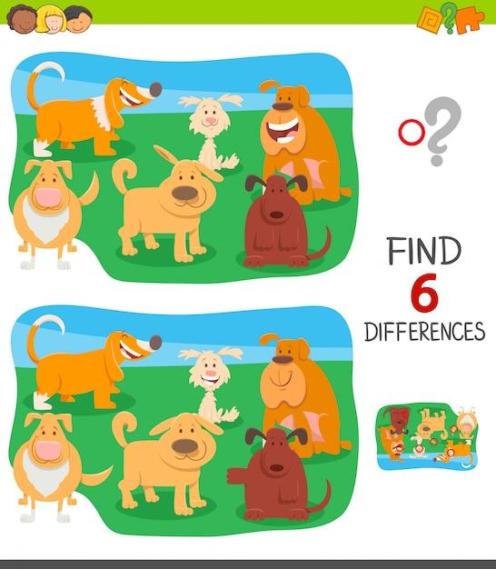 Trouver des différences jeu éducatif avec des chiens Vecteur Premium