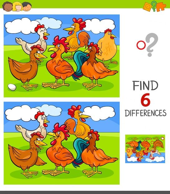 Trouver les différences avec les poules et les coqs Vecteur Premium