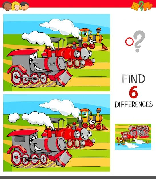 Trouver le jeu des différences avec les locomotives Vecteur Premium