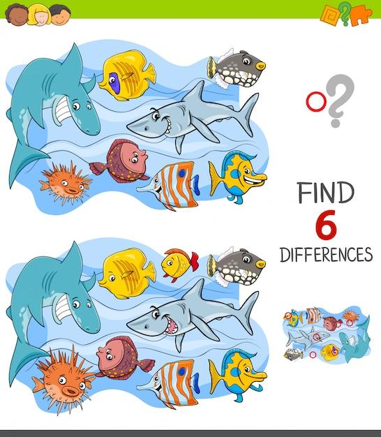 Trouver le jeu des différences avec des personnages de poissons joyeux Vecteur Premium