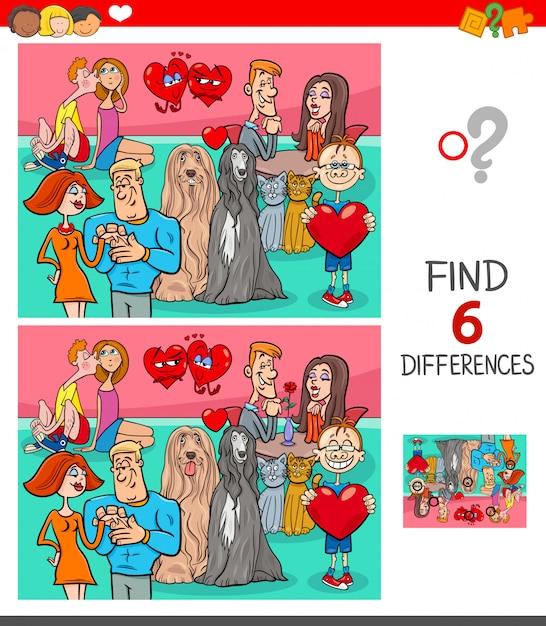 Trouver six différences entre les images jeu éducatif Vecteur Premium