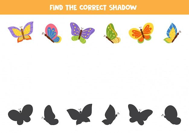 Trouvez La Bonne Ombre De Papillons De Dessins Animés. Vecteur Premium