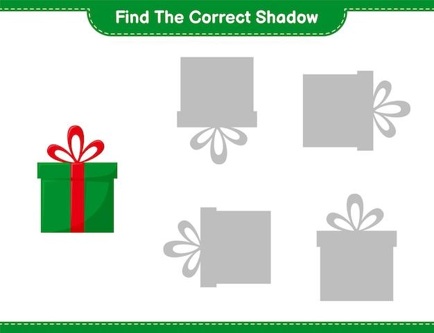 Trouvez La Bonne Ombre. Trouvez Et Associez L'ombre Correcte Des Coffrets Cadeaux. Jeu éducatif Pour Enfants Vecteur Premium