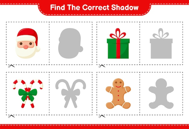 Trouvez La Bonne Ombre. Trouvez Et Faites Correspondre L'ombre Correcte De La Décoration De Noël. Jeu éducatif Pour Enfants Vecteur Premium