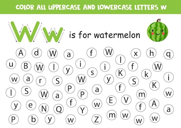 Trouvez Et Coloriez Toutes Les Lettres W. Feuille De Travail Pédagogique Pour Apprendre L'alphabet. W Est La Pastèque. Vecteur Premium