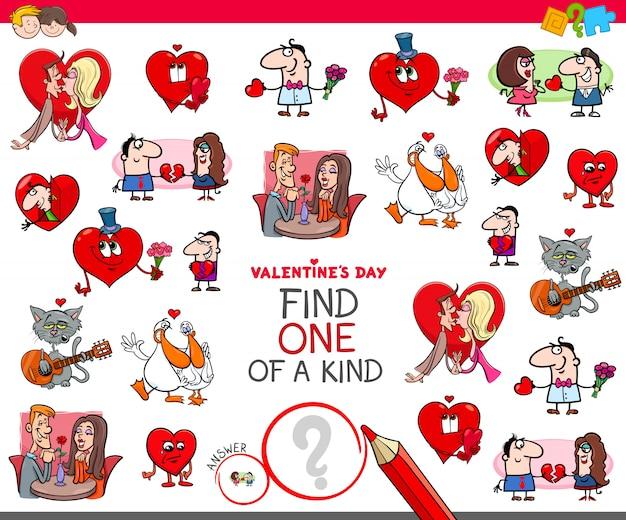 Trouvez l'un des dessins animés de la saint-valentin Vecteur Premium