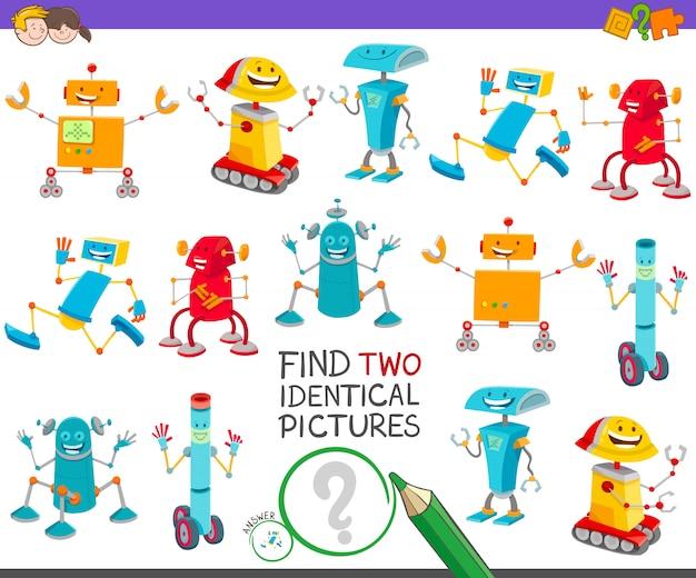 Trouvez deux images identiques jeu éducatif pour enfants Vecteur Premium