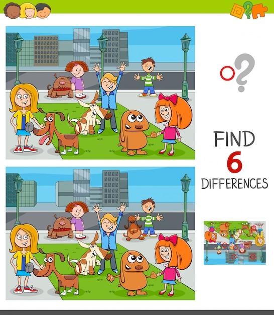 Trouvez les différences jeu éducatif avec des enfants et des chiens Vecteur Premium
