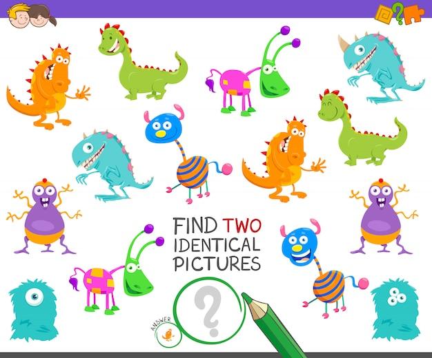 Trouvez des images identiques jeu éducatif pour les enfants Vecteur Premium