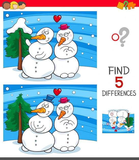 Trouvez le jeu des différences avec des bonhommes de neige Vecteur Premium