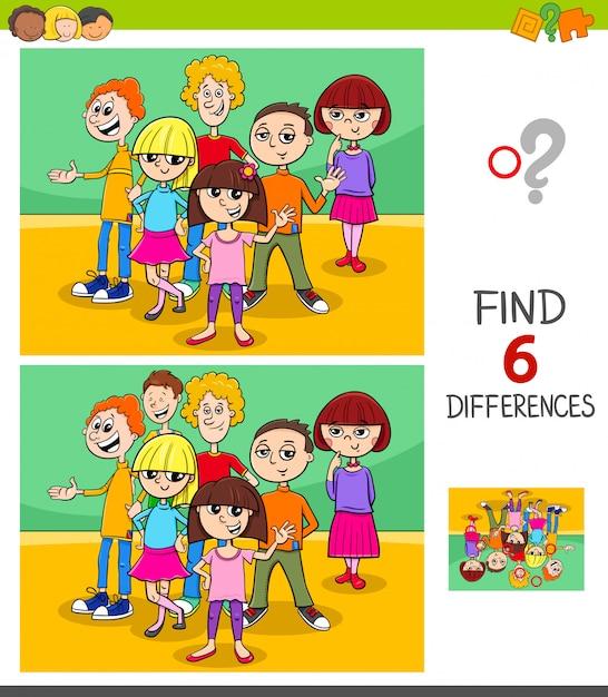 Trouvez le jeu des différences avec des enfants ou des adolescents Vecteur Premium
