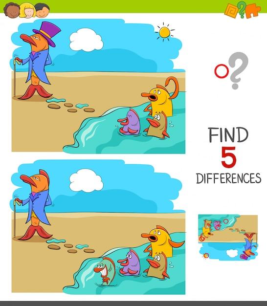 Trouvez le jeu des différences pour les enfants Vecteur Premium