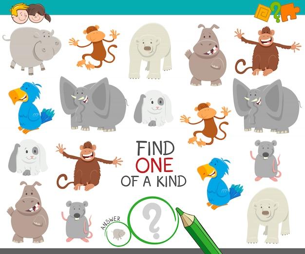 Trouvez un jeu éducatif unique avec des animaux Vecteur Premium