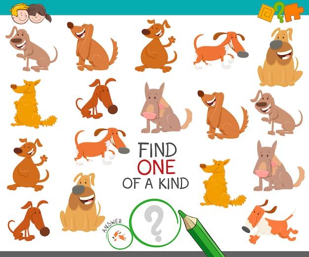 Trouvez un jeu éducatif unique avec des chiens Vecteur Premium