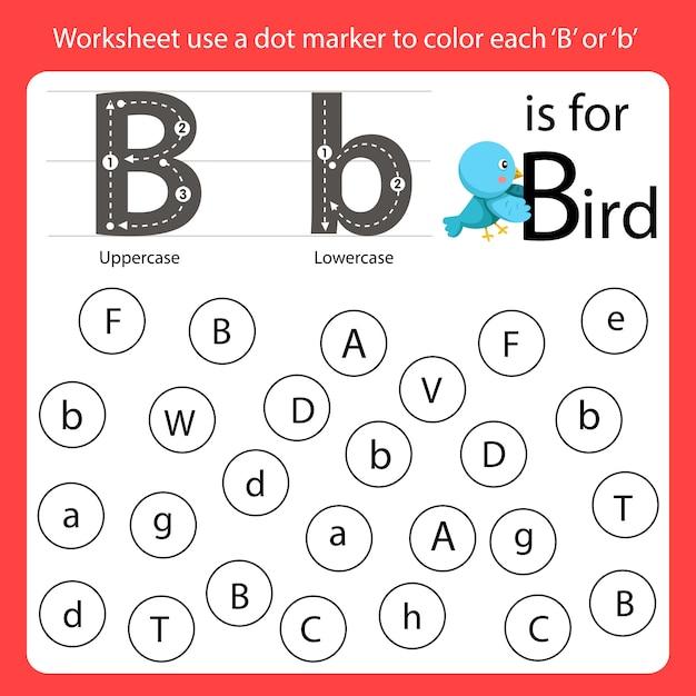 Trouvez la lettre feuille de travail en utilisant un marqueur de point pour colorier chaque b Vecteur Premium