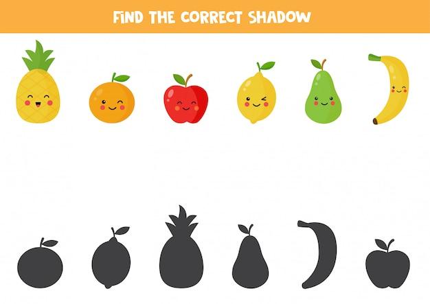 Trouvez L'ombre Correcte De Fruits Kawaii Mignons. Vecteur Premium