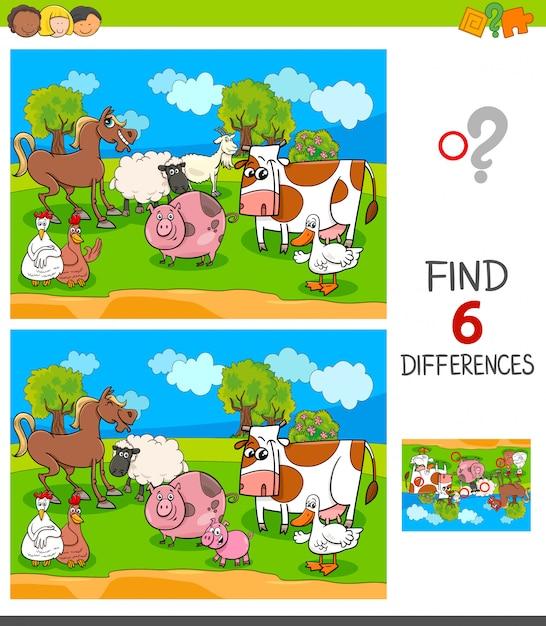 Trouvez six différences avec des personnages d'animaux de ferme Vecteur Premium