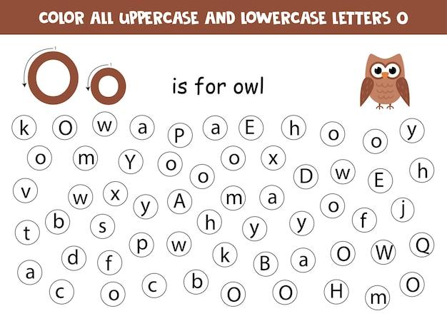 Trouvez Toutes Les Lettres O. Feuille De Calcul Pédagogique Pour Apprendre L'alphabet. Lettres Abc. O Est Pour Hibou. Vecteur Premium