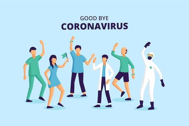 Des Trucs Médicaux Acclamant La Fin Du Virus Pandémique Vecteur gratuit