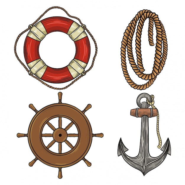 Trucs nautiques Vecteur Premium