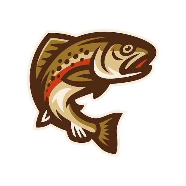 Truite poisson logo mascotte modèle vector illustration Vecteur Premium