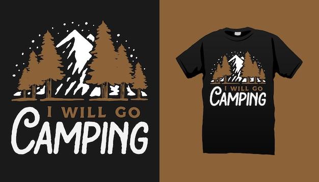 Tshirt De Camping Vecteur Premium