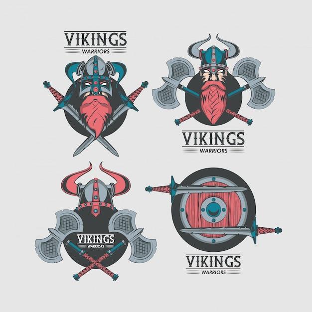 Tshirt vikings warriors imprimé s Vecteur gratuit