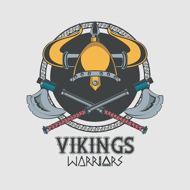 Tshirt vikings warriors imprimé Vecteur gratuit