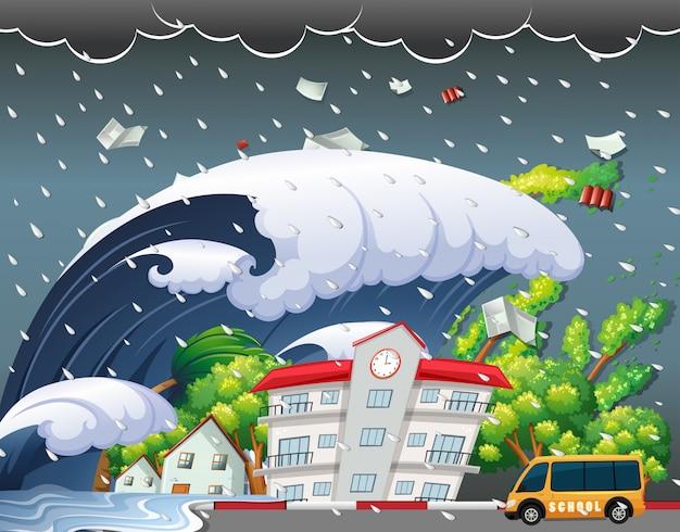 Le tsunami a frappé un bâtiment scolaire Vecteur Premium