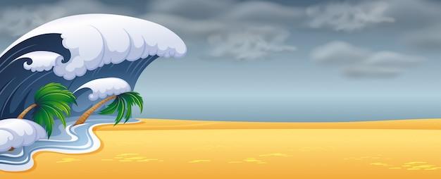 Tsunami a frappé la plage Vecteur Premium