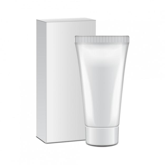 Tube Avec Boîte Blanche - Crème, Gel, Soin De La Peau, Dentifrice. Prêt Pour Votre Conception. Modèle D'emballage Vecteur Premium