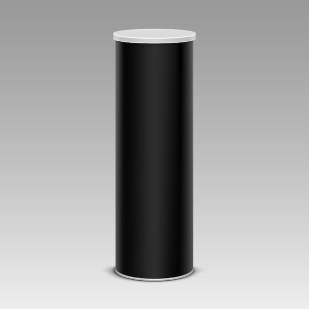 Tube De Conteneur De Boîte En Fer Blanc à Copeaux Noirs Vecteur Premium
