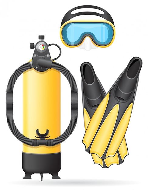 Tube de masque aqualung et palmes pour illustration vectorielle de plongée Vecteur Premium