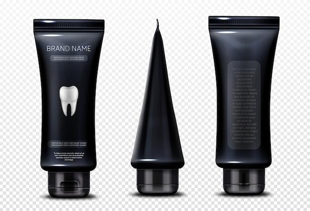Tube Noir Avec Du Dentifrice Isolé Vecteur gratuit