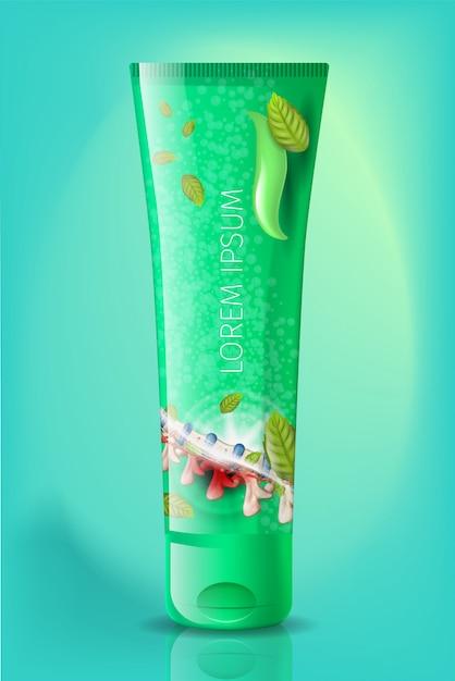 Tube réaliste de tube naturel anti-arthrite crème Vecteur Premium