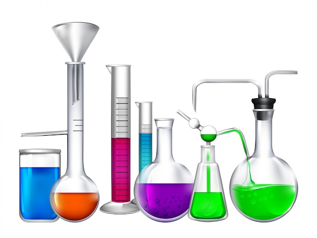 Tube en verre avec différents ingrédients chimiques liquides Vecteur Premium
