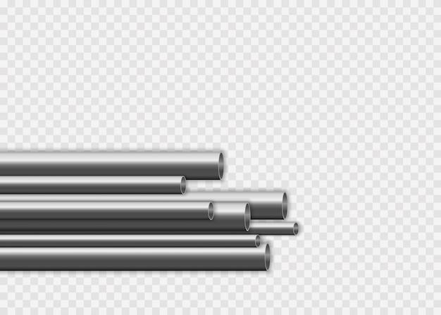 Tubes En Acier Ou En Aluminium De Différents Diamètres Isolés Sur Fond Blanc. Conception De Tuyaux En Acier 3d Brillant. Concept De Fabrication De Pipelines Métalliques Industriels. Vecteur Premium