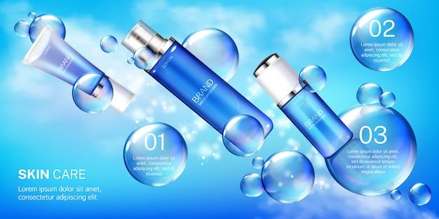 Tubes cosmétiques avec modèle de bannière de bulles Vecteur gratuit