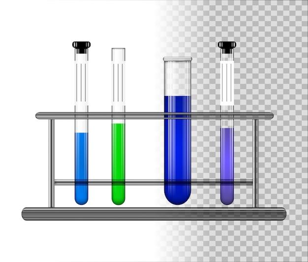 Tubes à essai avec du liquide sur un support en verre. Vecteur Premium